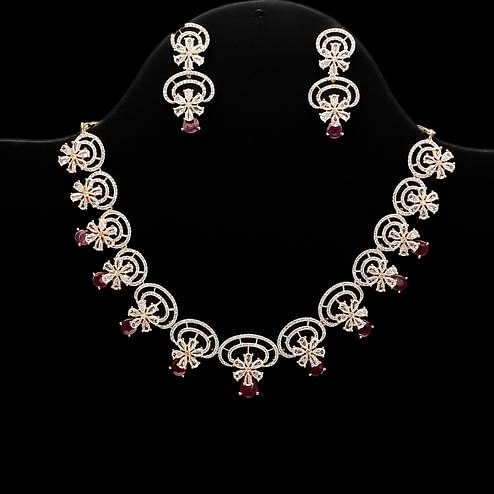 Staring American Diamond and Red Stone Necklace Set