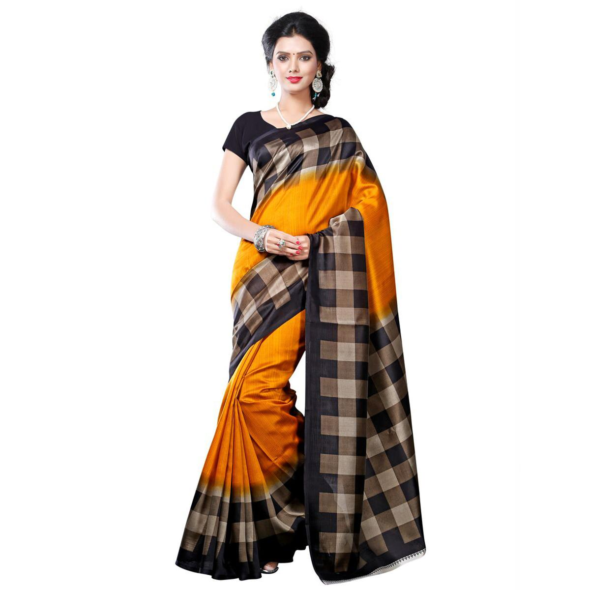 Orange - Black Checkered Printed Saree