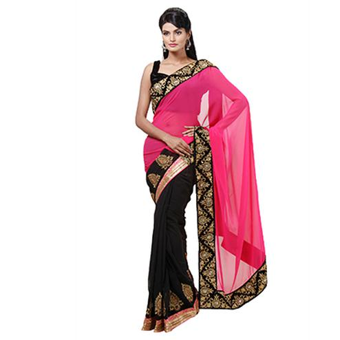 Pink - Black Half & Half Saree