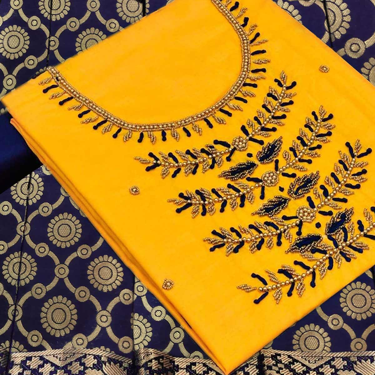 Glowing Yellow Colored Partywear Embroidered Cotton Dress Material With Banarasi Silk Dupatta