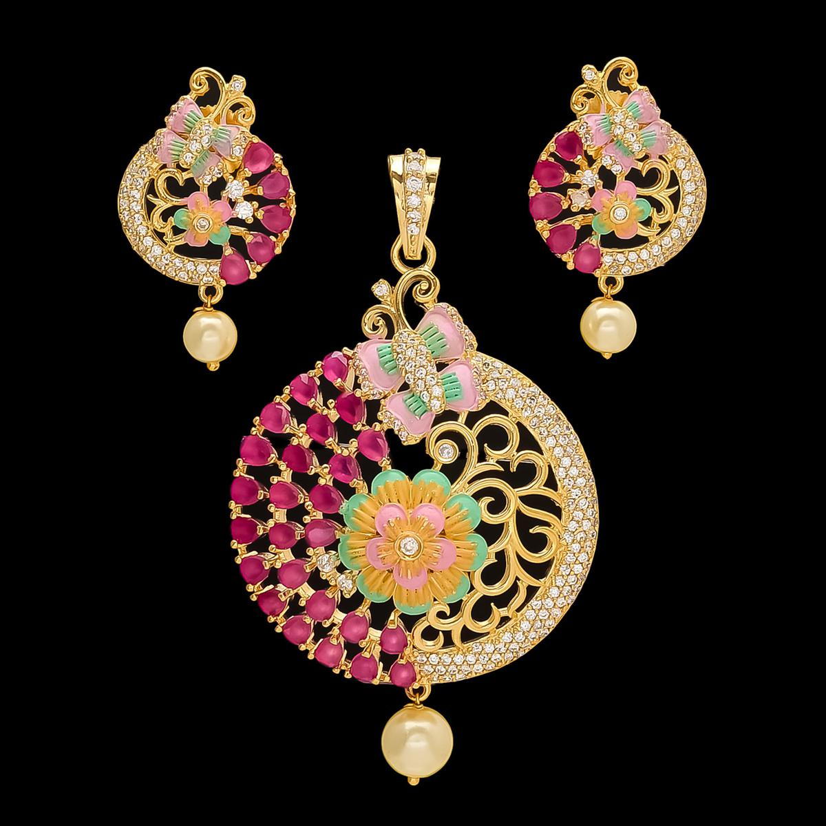 Flattering Pink-Golden Colored Meena American Diamond and Red Stone Pendant Set