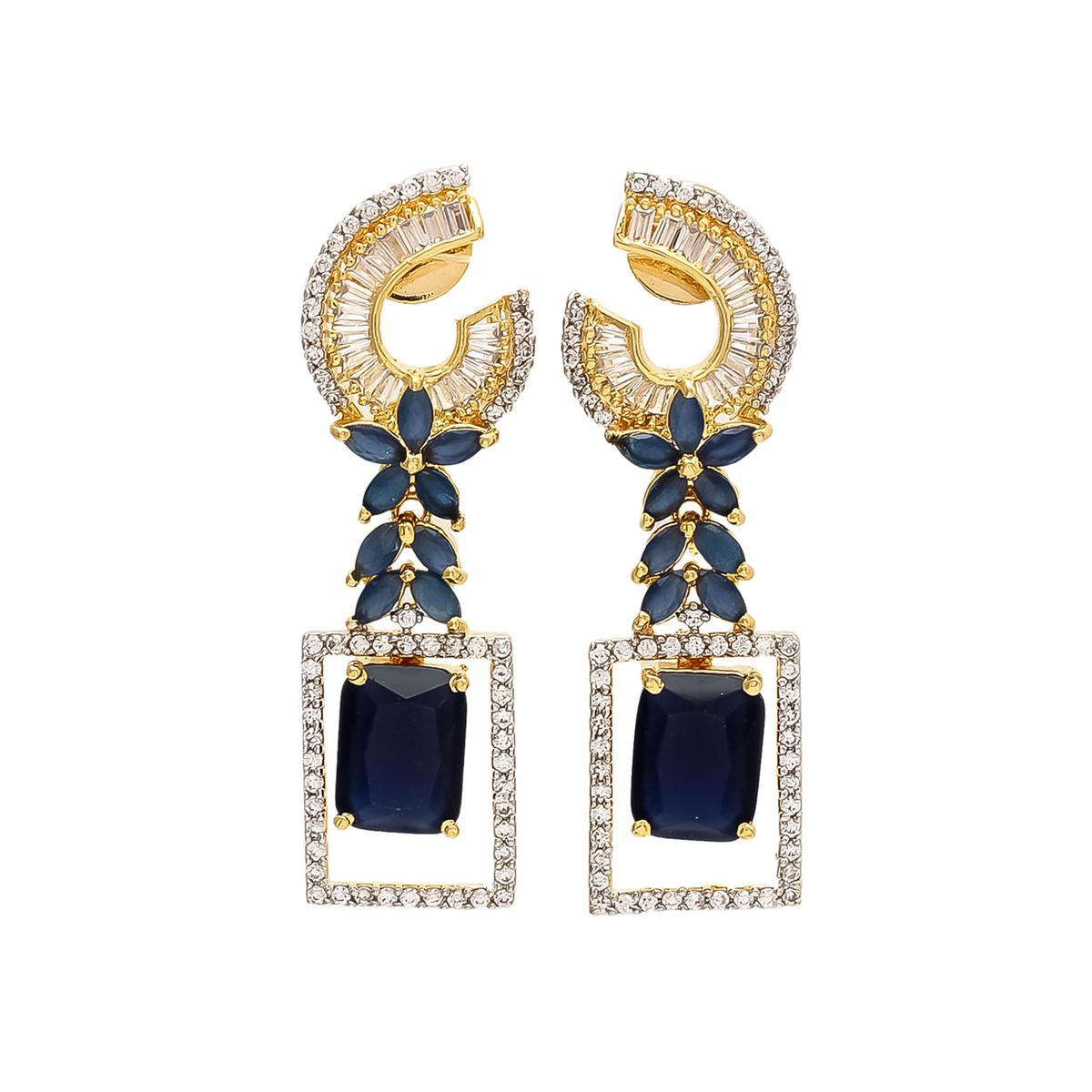 Classy Blue and White Colored Stone Earrings