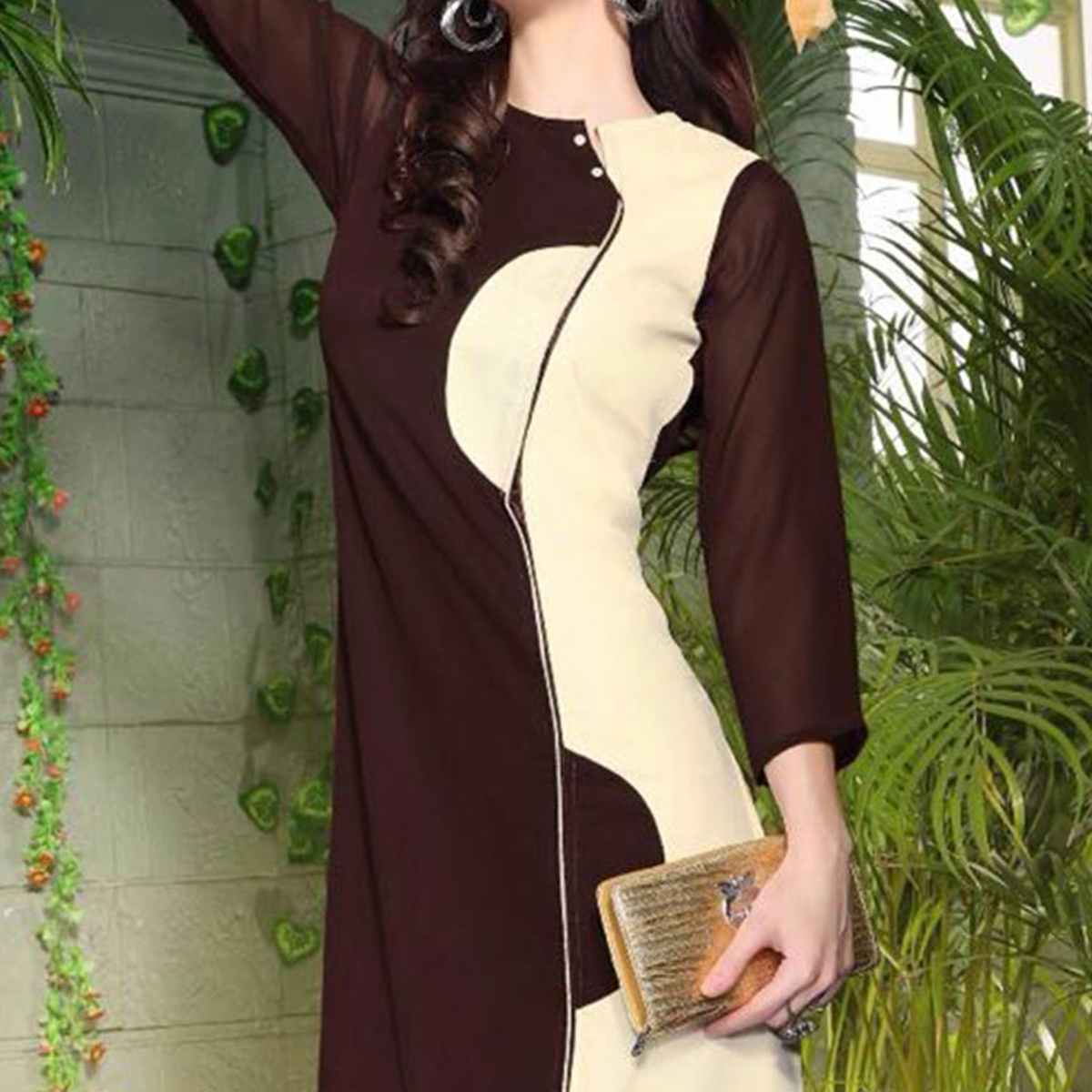 Brown - Cream Georgette Tunic