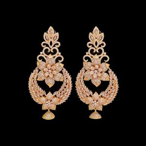 Glorious Designer Rose Gold Colored Plated American Diamond Earrings