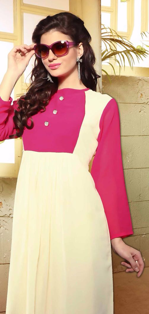Pink - Cream Georgette Tunic