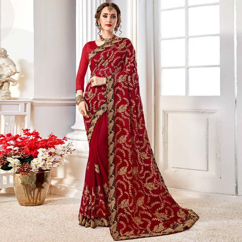 Arresting Maroon Colored Partywear Embroidered Georgette Saree