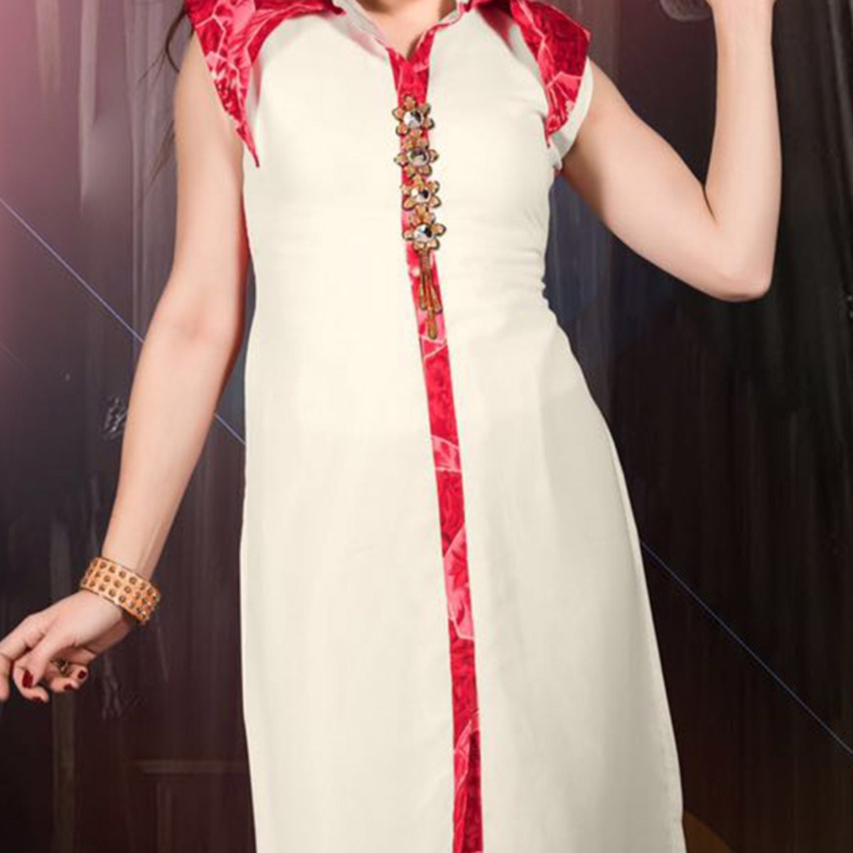 Off White - Red Casual Kurti