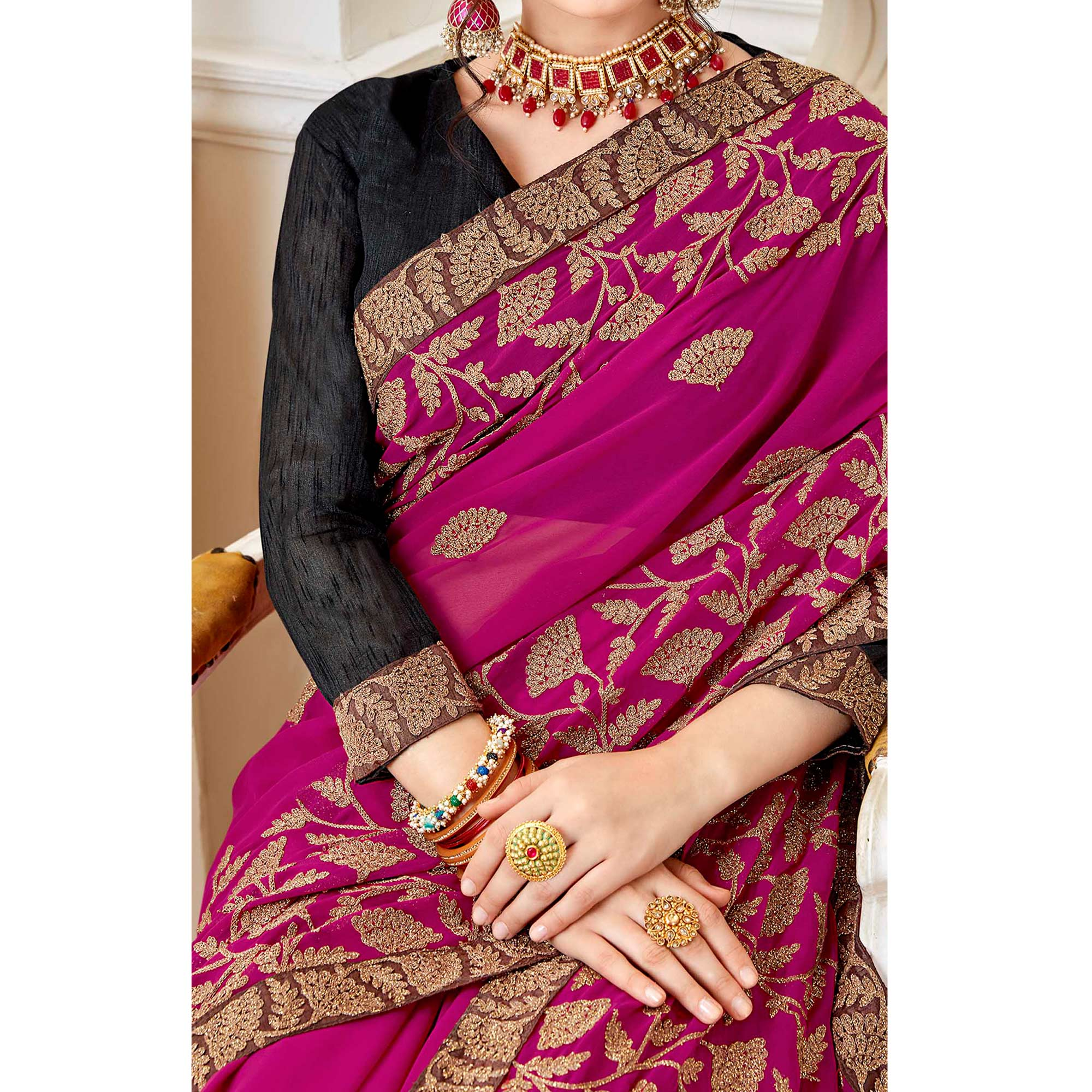 Trendy Rani Pink Colored Partywear Embroidered Georgette Saree