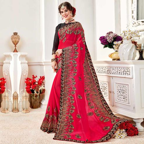 Radiant Pink Colored Partywear Embroidered Georgette Saree