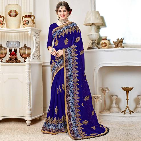 Pleasant Royal Blue Colored Partywear Embroidered Georgette Saree