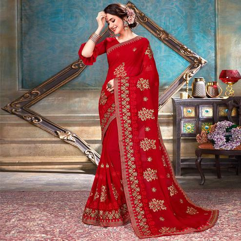 Opulent Red Colored Partywear Embroidered Georgette Saree