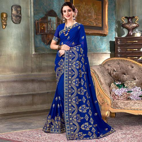 Energetic Blue Colored Partywear Embroidered Georgette Saree