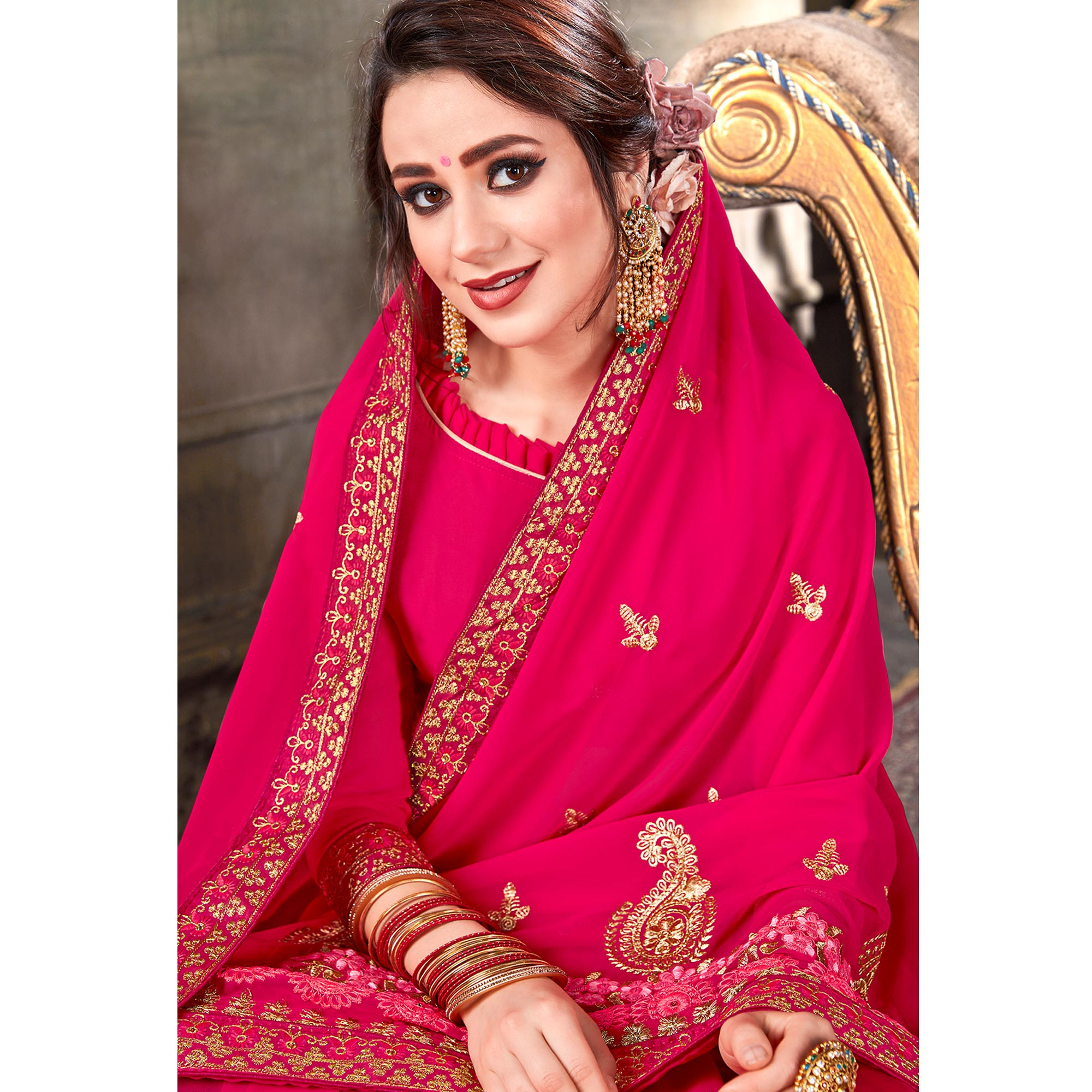 Exceptional Hot Pink Colored Partywear Embroidered Georgette Saree