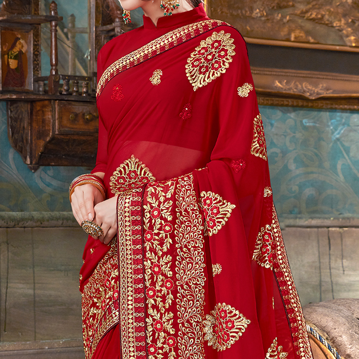 Gleaming Red Colored Partywear Embroidered Georgette Saree