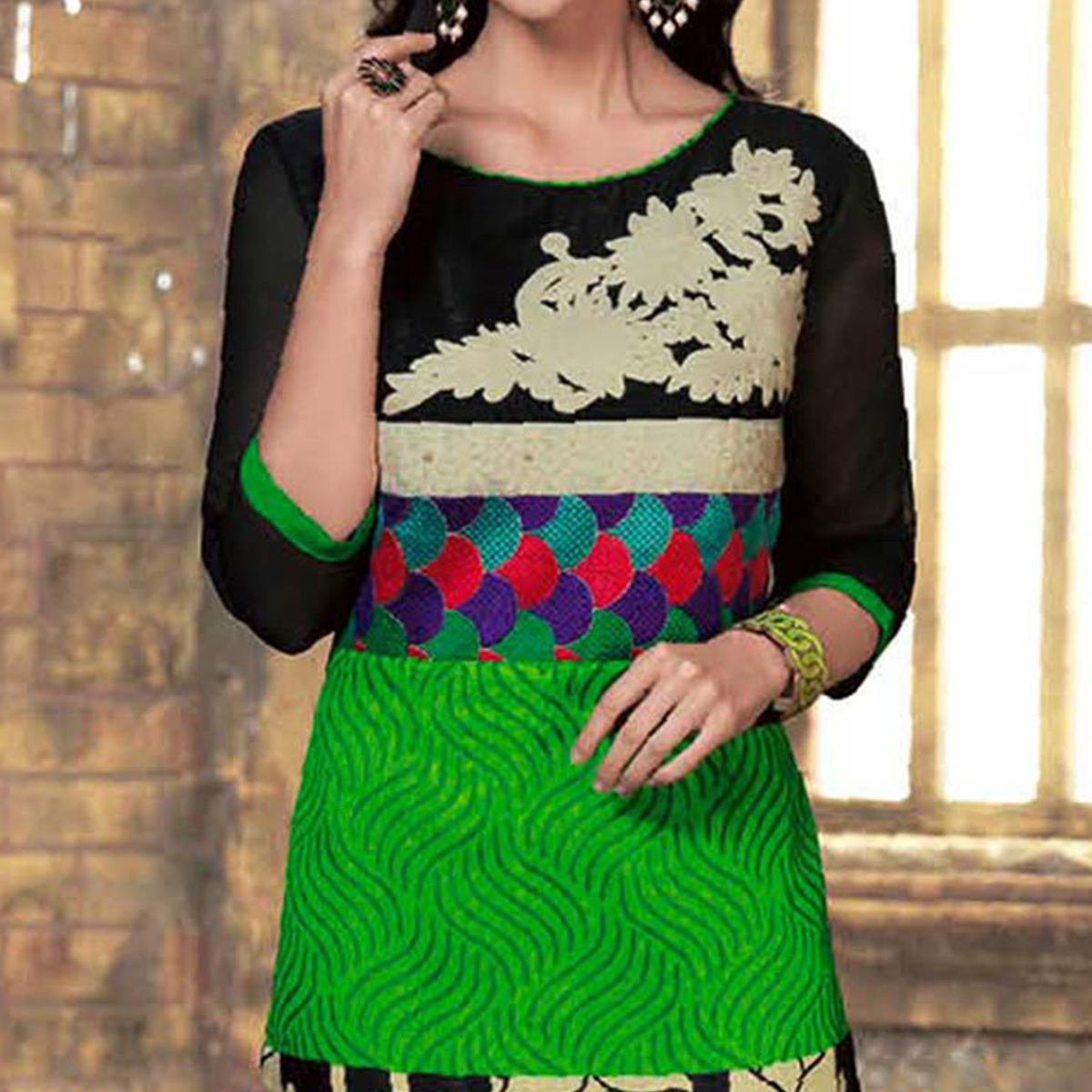 Black - Green Heavy Silky Kurti