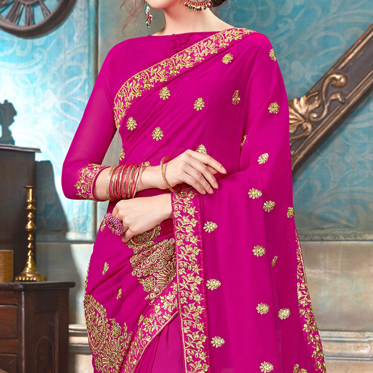 Unique Rani Pink Colored Partywear Embroidered Georgette Saree