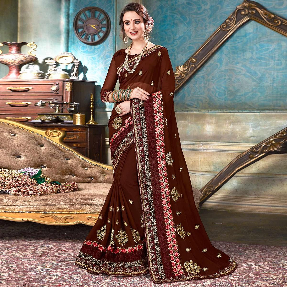 Demanding Brown Colored Partywear Embroidered Georgette Saree