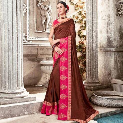 Refreshing Brown Colored Partywear Embroidered Georgette Saree