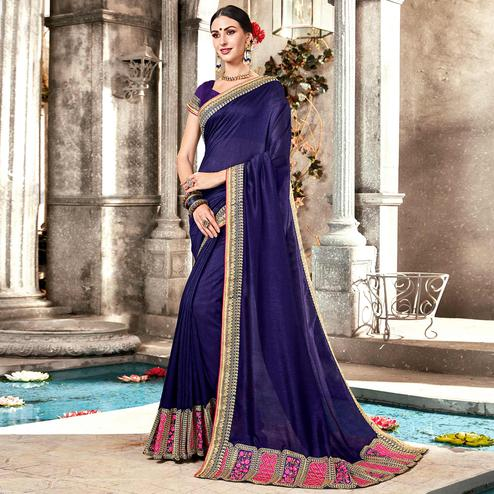 Hypnotic Navy Blue Colored Partywear Embroidered Georgette Saree