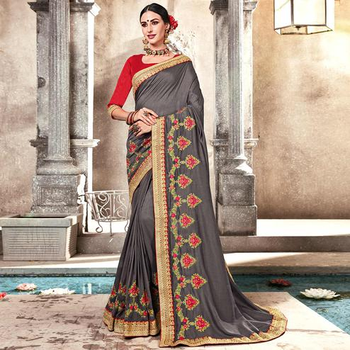 Excellent Gray Colored Partywear Embroidered Georgette Saree