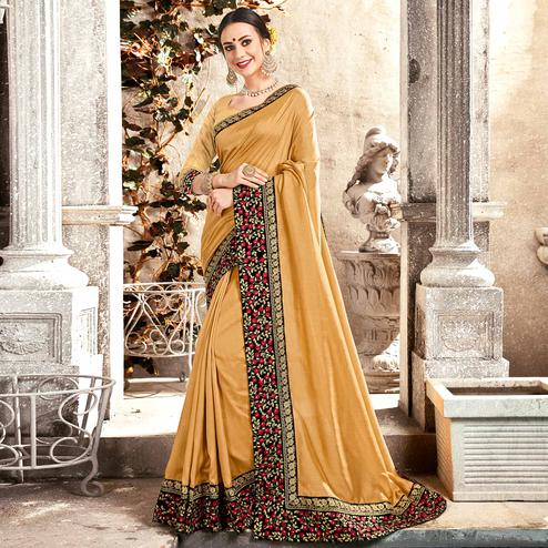 Preferable Golden Yellow Colored Partywear Embroidered Georgette Saree