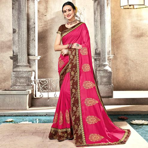 Marvellous Pink Colored Partywear Embroidered Georgette Saree