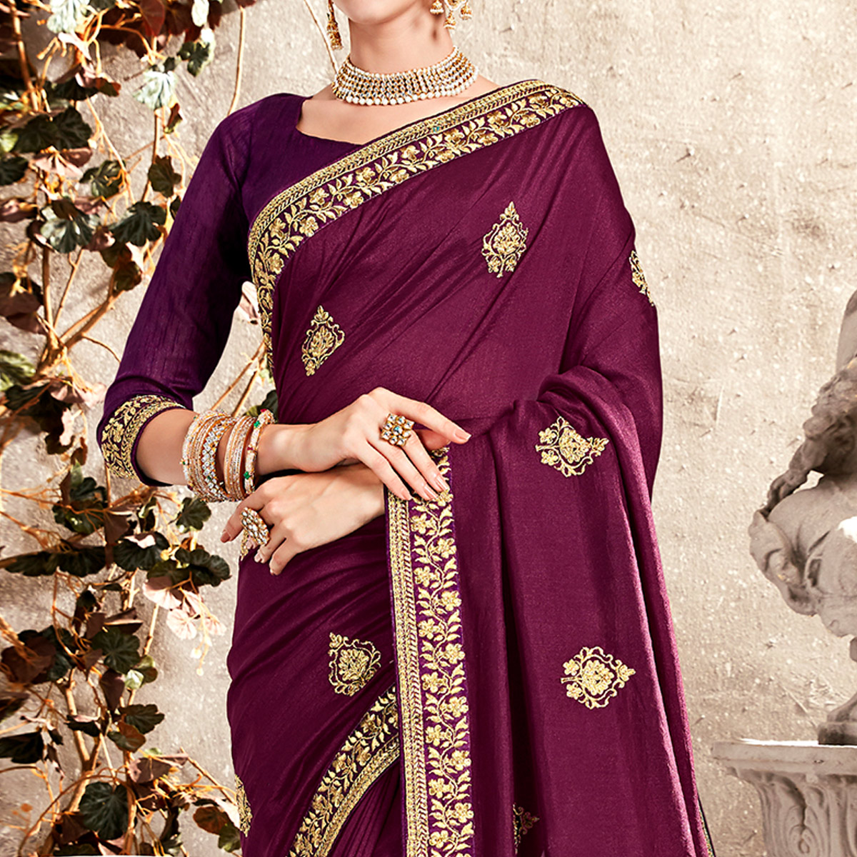 Flamboyant Dark Purple Colored Partywear Embroidered Georgette Saree