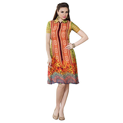 Multi - Orange Printed Stitched Kurti