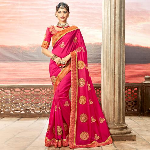 Pretty Bright Pink Colored Partywear Embroidered Rangoli Silk Saree