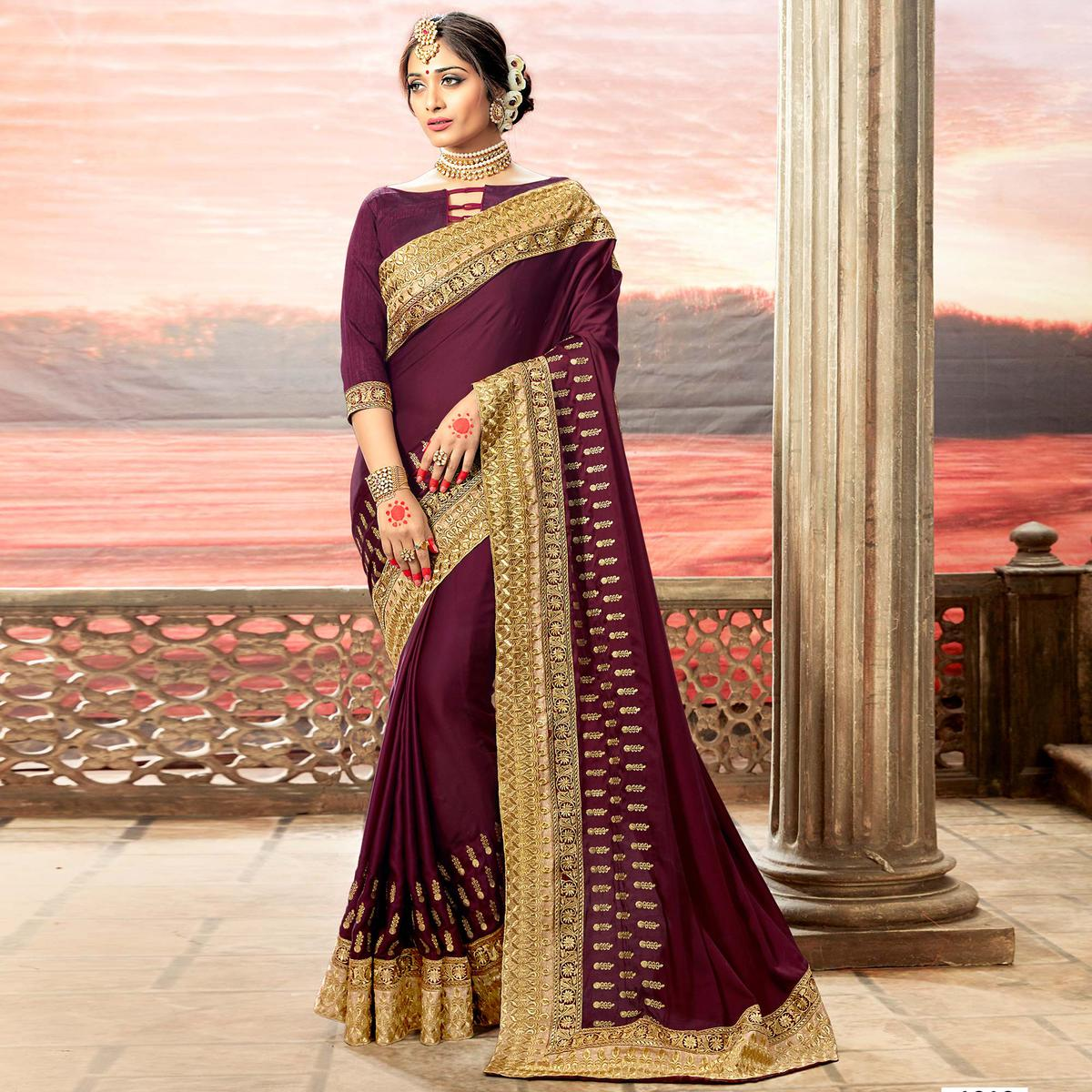 Alluring Wine Colored Partywear Embroidered Rangoli Silk Saree