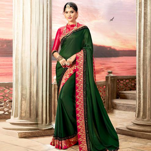 Sensational Dark Green Colored Partywear Embroidered Rangoli Silk Saree