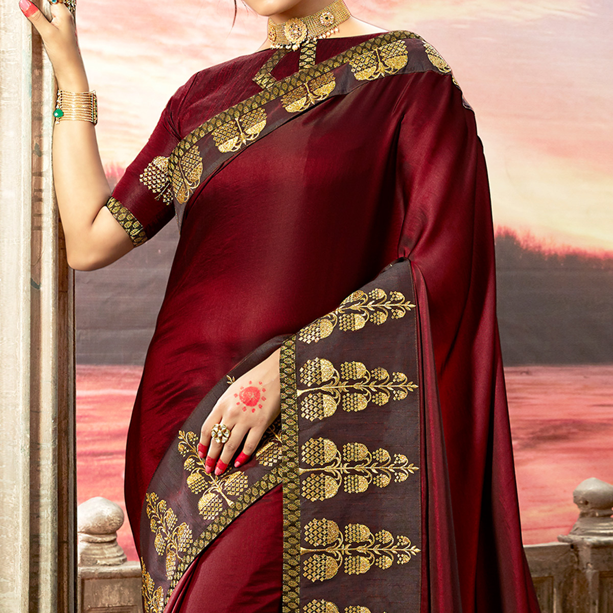 Flaunt Maroon Colored Partywear Embroidered Rangoli Silk Saree