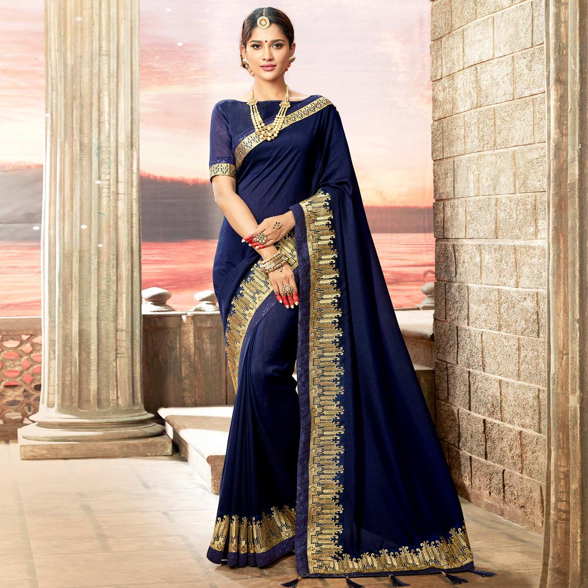 Prominent Navy Blue Colored Partywear Embroidered Rangoli Silk Saree