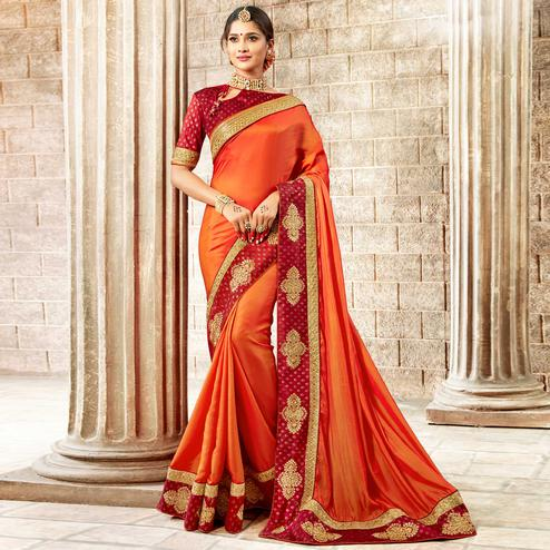 Groovy Orange Colored Partywear Embroidered Rangoli Silk Saree