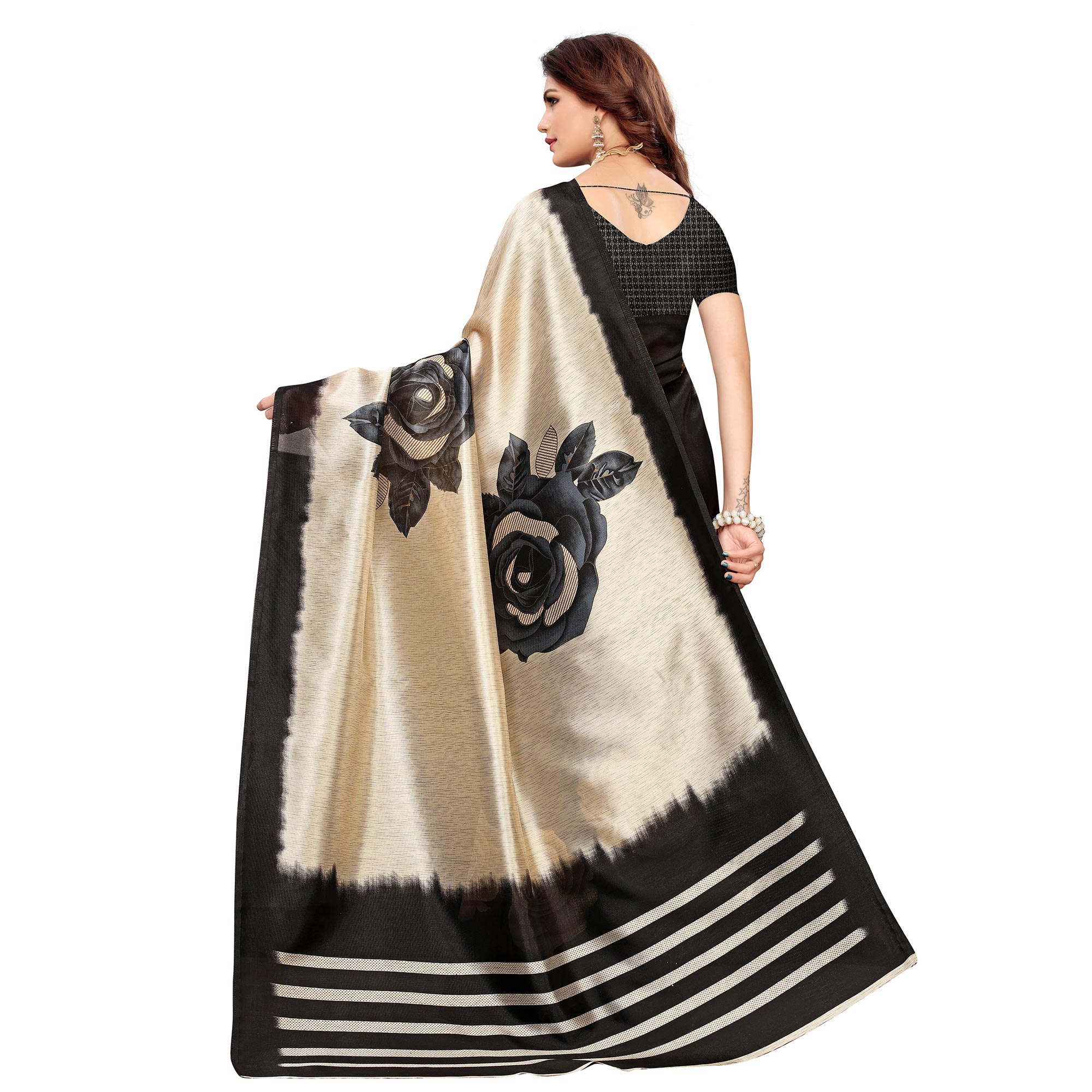 Adorable Beige-Black Colored Casual Printed Mysore Silk Saree