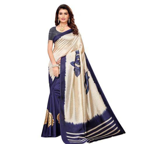 Glorious Beige-Navy Blue Colored Casual Printed Mysore Silk Saree