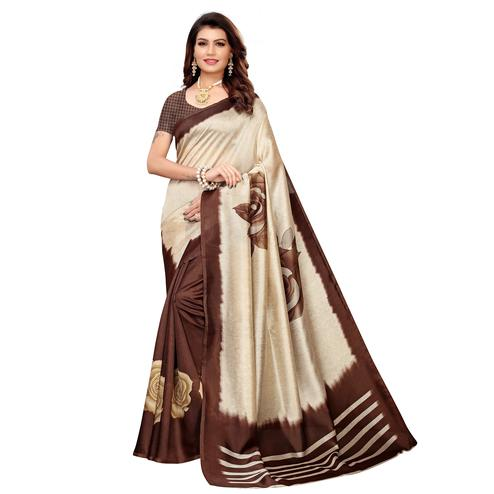 Attractive Beige-Brown Colored Casual Printed Mysore Silk Saree