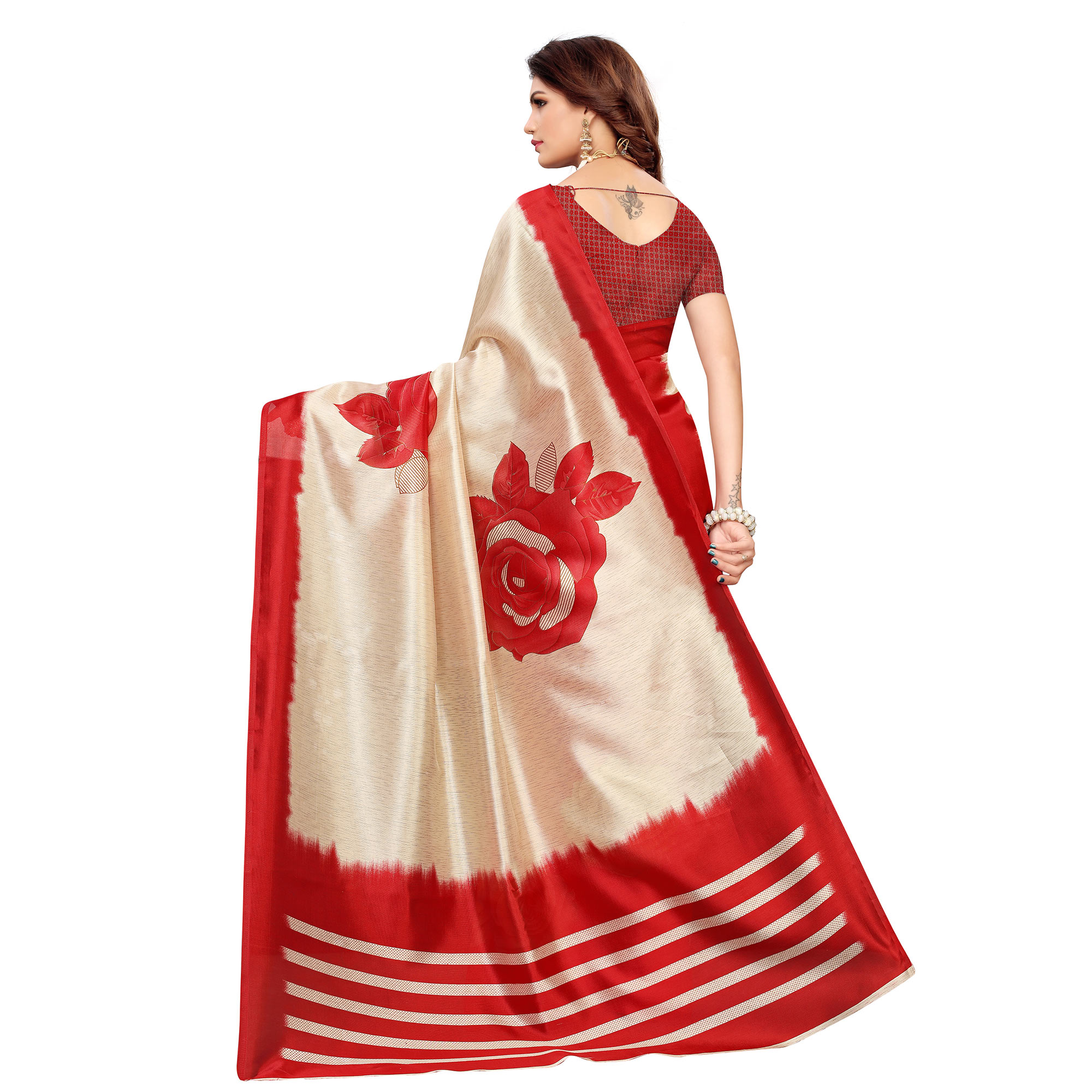 Beautiful Beige-Red Colored Casual Printed Mysore Silk Saree