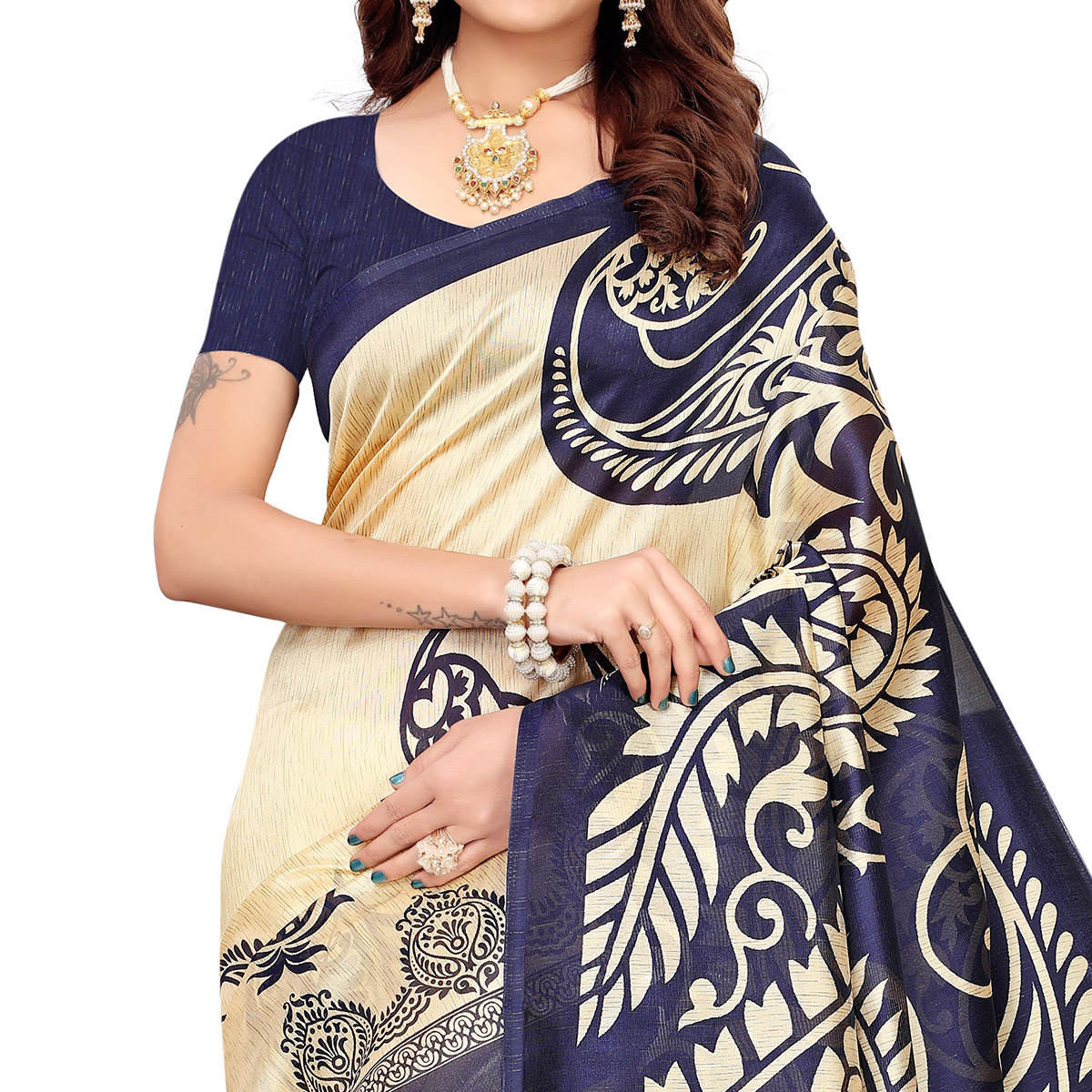 Blooming Beige-Navy Blue Colored Casual Printed Mysore Silk Saree