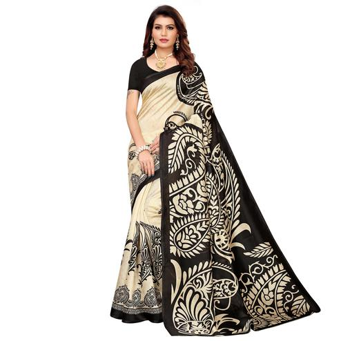 Charming Beige-Black Colored Casual Printed Mysore Silk Saree
