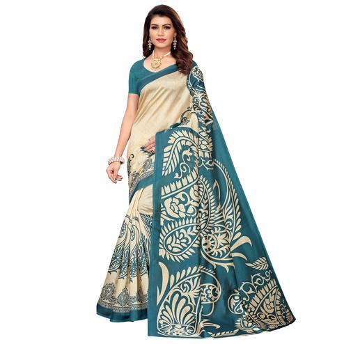 Jazzy Beige-Rama Blue Colored Casual Printed Mysore Silk Saree