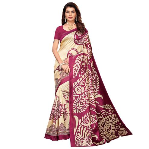 Delightful Beige-Pink Colored Casual Printed Mysore Silk Saree