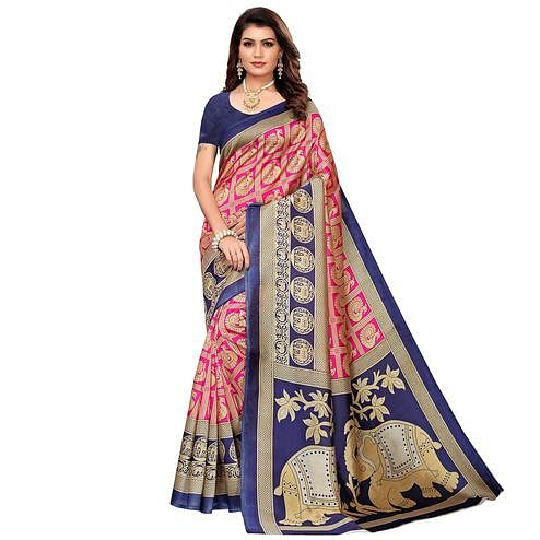 Captivating Pink Colored Casual Printed Mysore Silk Saree