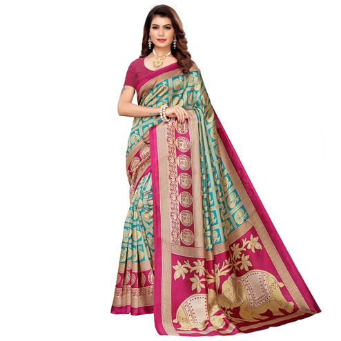Innovative Green Colored Casual Printed Mysore Silk Saree