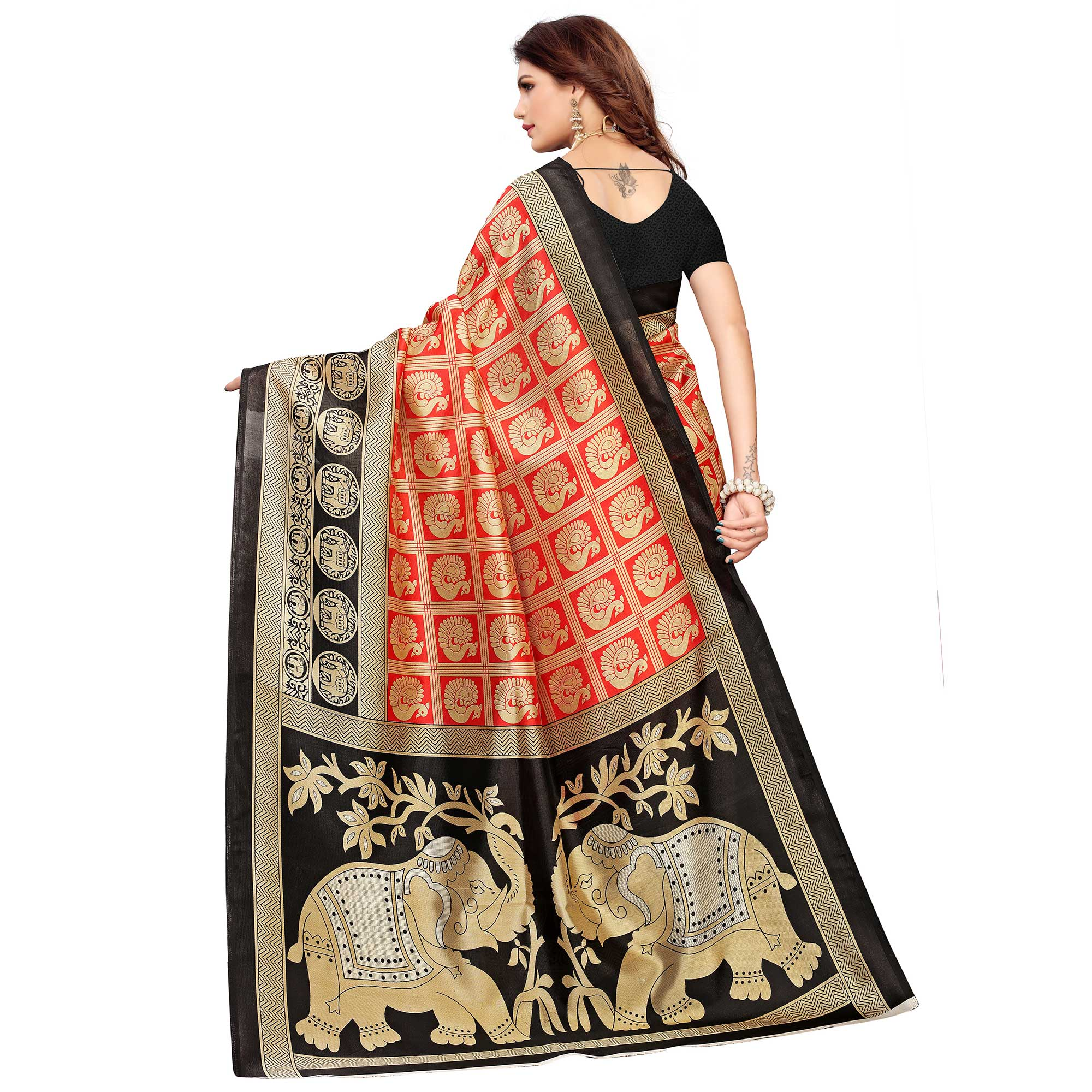 Eye-catching Red Colored Casual Printed Mysore Silk Saree