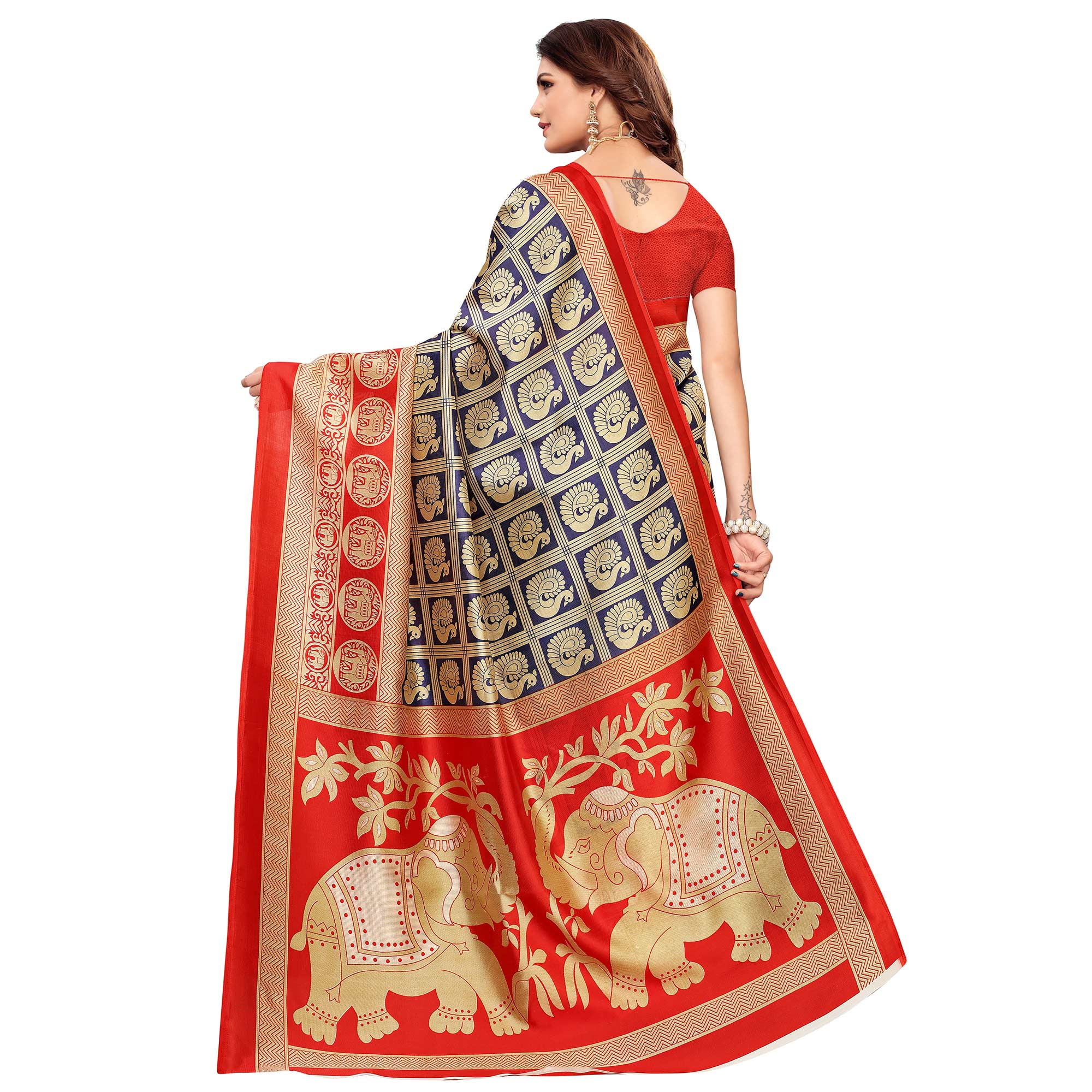 Fantastic Navy Blue Colored Casual Printed Mysore Silk Saree