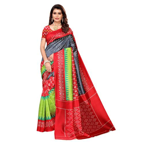 Gorgeous Red-Multi Colored Casual Printed Mysore Silk Saree