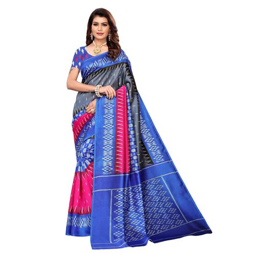 Blissful Blue-Multi Colored Casual Printed Mysore Silk Saree