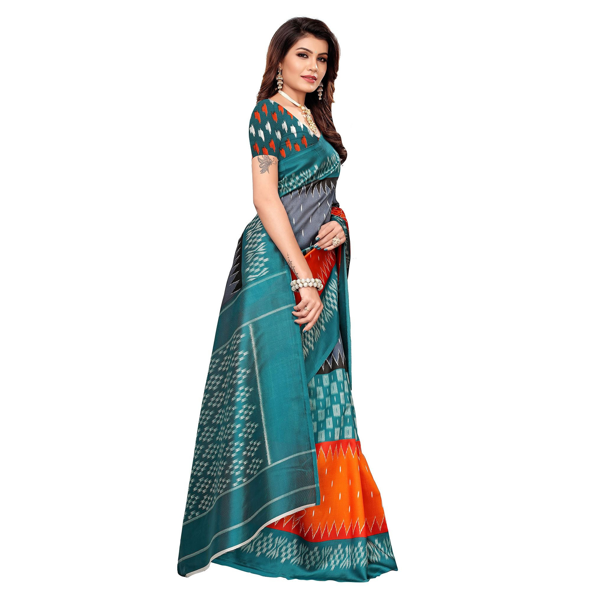 Engrossing Teal Blue-Multi Colored Casual Printed Mysore Silk Saree