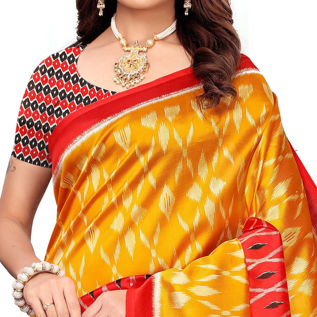 Ideal Orange-Red Colored Casual Printed Mysore Silk Saree
